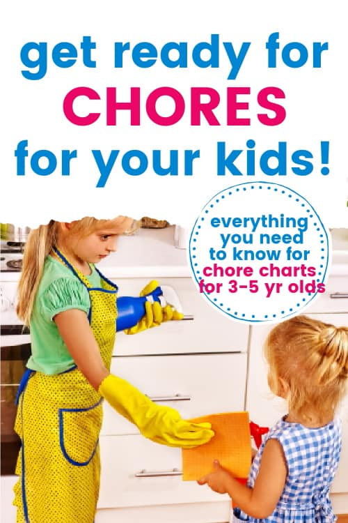 toddler girls doing chores, with surrounding text