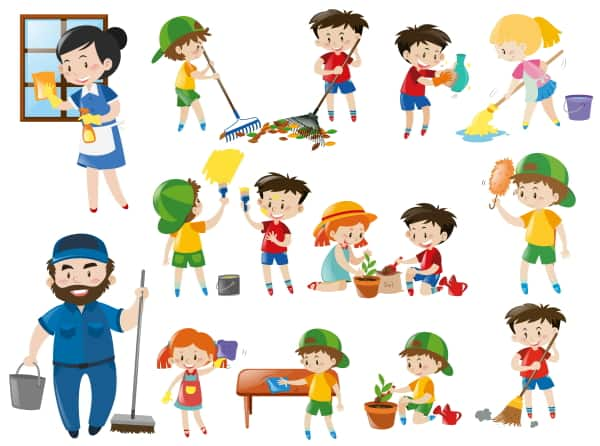 cartoon of kids doing chores