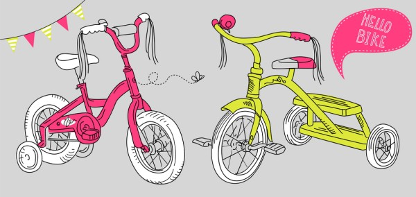 cartoon of kids bike and tricycle activity
