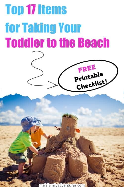 toddler building a sandcastle