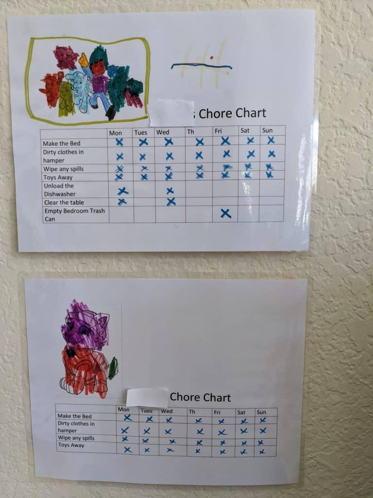 Home-made chore chart