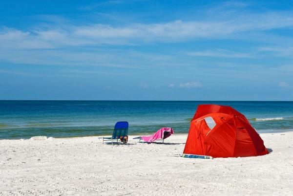 shade tent at the beach