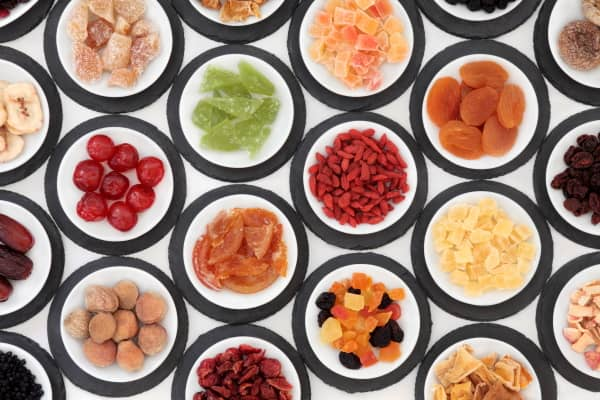 bowls of healthy dried fruits