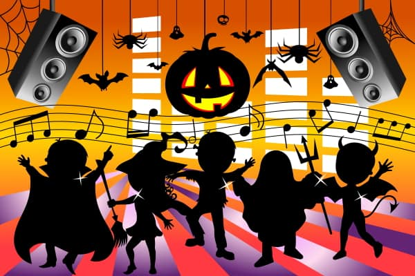 Kids dancing at Halloween (cartoon)